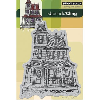 Penny Black Haunted House Cling Rubber Stamp (4x6)