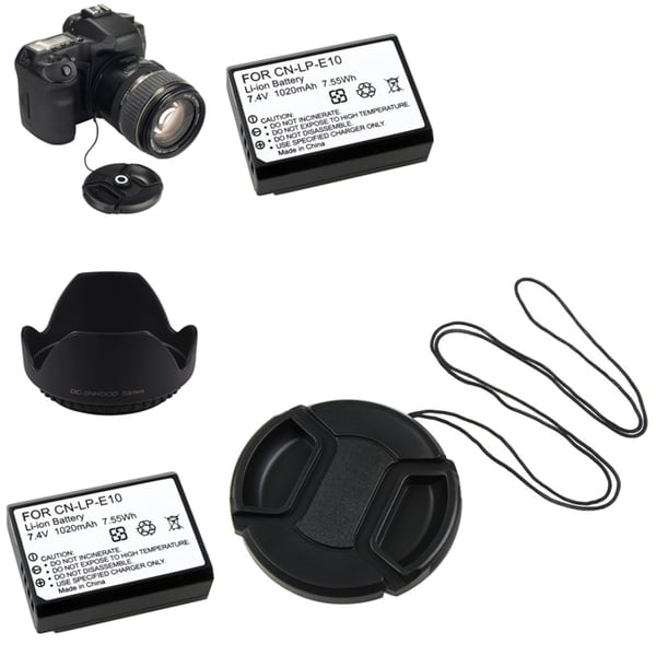 INSTEN Lens Cap and Battery Set for Canon EOS 1100D