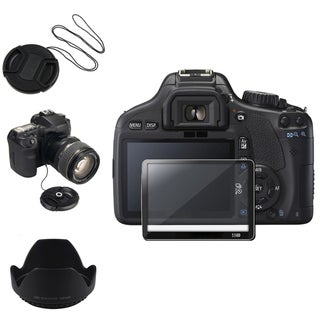 BasAcc Lens Cap and Lens Hood Set for Canon EOS 550D
