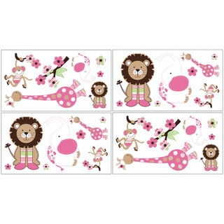 Sweet JoJo Designs Pink and Green Jungle Friends Wall Decals (Set of 4)