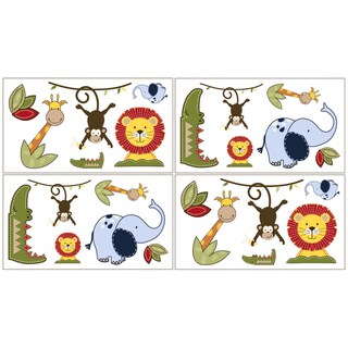 Sweet JoJo Designs Jungle Time Wall Decal Stickers (Set of 4)