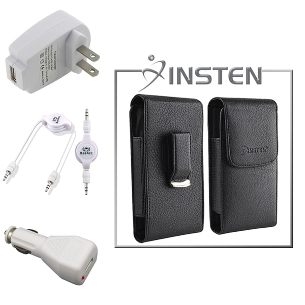 INSTEN Phone Case Cover/ White Travel/ Car Charger/ Cable for Apple iPhone 4/ 4S