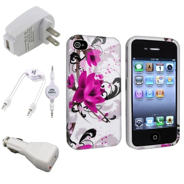 INSTEN Phone Case Cover and Charger Set for iPhone 4/ 4S