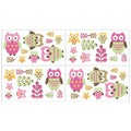 Sweet JoJo Designs Pink Happy Owl Wall Decal Stickers (Set of 4)