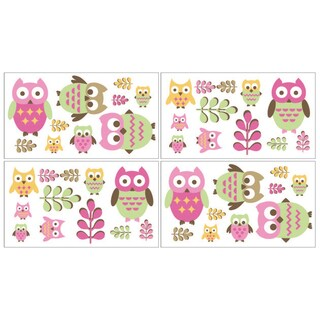 Sweet Jojo Designs Pink Happy Owl Peel and Stick Wall Decal Stickers Art Nursery Decor (Set of 4)