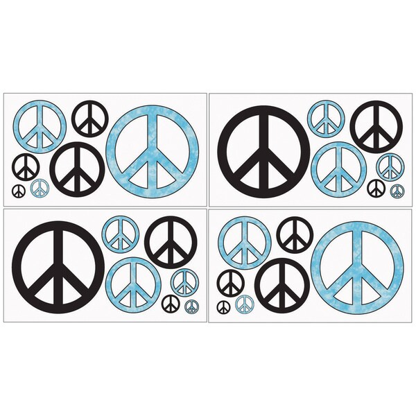 Sweet JoJo Designs Turquoise Groovy Peace Sign Wall Decals (Set of 4)