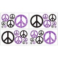 Sweet JoJo Designs Purple Groovy Peace Sign Wall Decal Stickers (Set of 4)