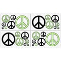 Sweet JoJo Designs Lime Groovy Peace Sign Wall Decals (Set of 4)