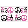 Sweet JoJo Designs Pink Groovy Peace Sign Wall Decal Stickers (Set of 4)