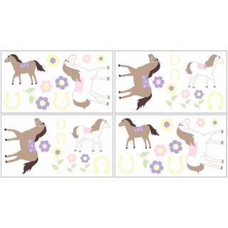 Sweet JoJo Designs Pretty Pony Horse Wall Decal Stickers (Set of 4)