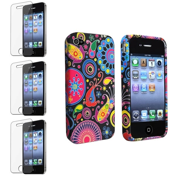 BasAcc Black TPU Case/ Screen Protector for Apple® iPhone 4/ 4S