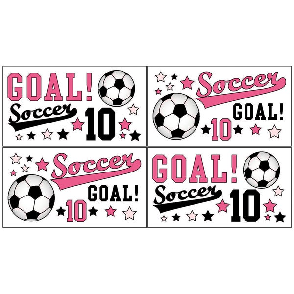 Sweet JoJo Designs Girls Soccer Wall Decals (Set of 4)