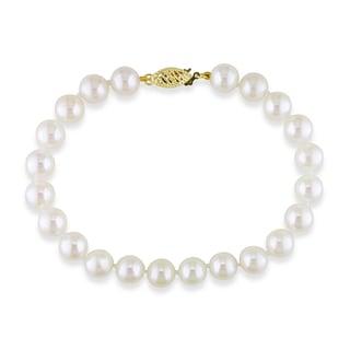 Miadora 14k Yellow Gold Akoya White Pearl Bracelet (7.5-8 mm)