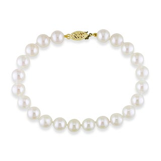 Miadora 14k Yellow Gold White Cultured Akoya Pearl Bracelet (7.5-8 mm)