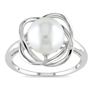 Miadora Sterling Silver White Pearl Ring (8.5-9 mm)