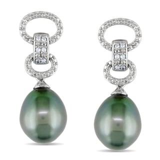 Miadora Sterling Silver Tahitian Pearl and Diamond Earrings (9-9.5 mm)