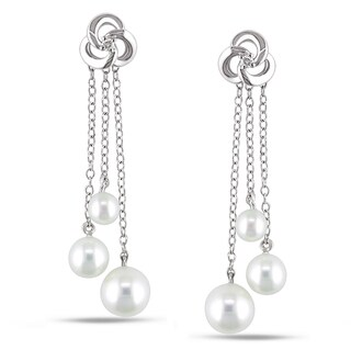 Miadora Sterling Silver Pearl and Diamond Dangle Earrings (4.5-7 mm)