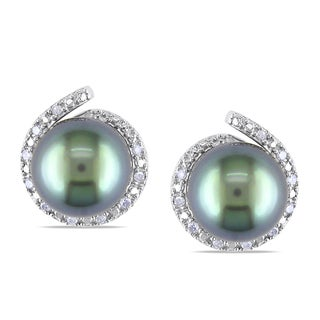 Miadora 10k Gold Pearl and 1/10ct TDW Diamond Earrings (H-I, I2-I3)
