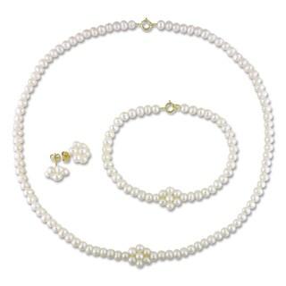 M by Miadora 10k Yellow Gold Pearl Jewelry Set (3-4 mm)