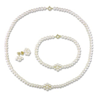 Miadora 10k Yellow Gold Pearl Jewelry Set (3-4 mm)