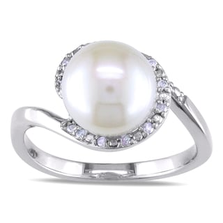 Miadora 10k White Gold Pearl and 1/10ct TDW Diamond Ring (H-I, I2-I3)