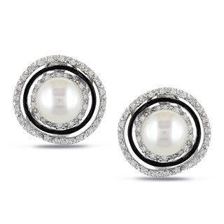 Miadora Sterling Silver Pearl and 1/4ct TDW Diamond Earrings (H-I, I2-I3)