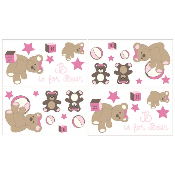 Sweet JoJo Designs Pink and Chocolate Teddy Bear Wall Decal Stickers (Set of 4)