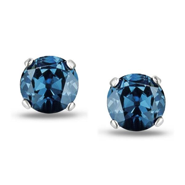 Miadora 14k White Gold 2ct TDW Round Blue Diamond Stud Earrings