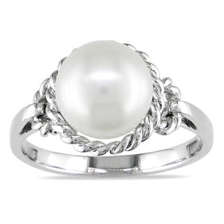 Miadora 14k White Gold Pearl Cocktail Ring (9-9.5 mm)