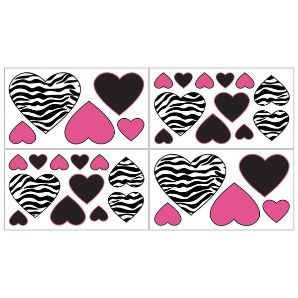 Sweet JoJo Designs Funky Zebra Wall Decal Stickers (Set of 4)