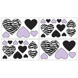 Sweet JoJo Designs Purple Funky Zebra Wall Decal Stickers (Set of 4)