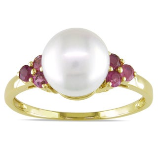 Miadora 10k Yellow Gold Pearl and Pink Tourmaline Ring (8-8.5 mm)