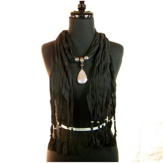 Black Fashion Jewelry Scarf with Textured Pendant
