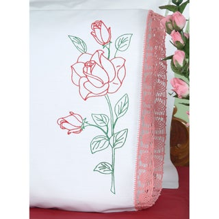 Stamped Pillowcases With Hemstitched Edge 2/Pkg-Long Stem Rose