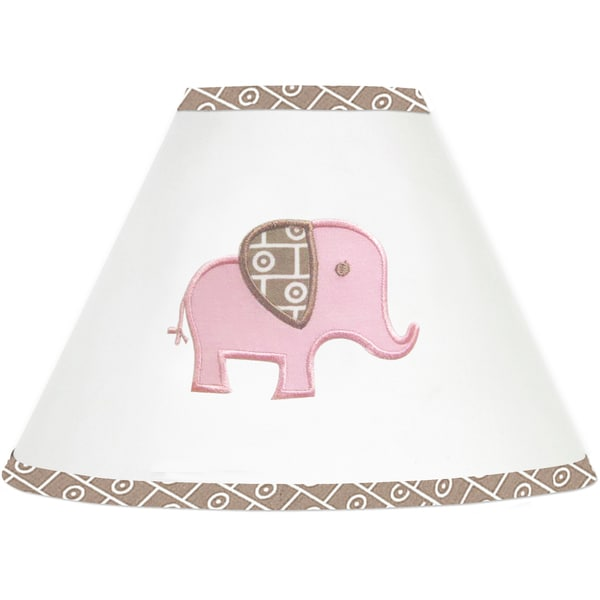 Sweet JoJo Designs Pink and Taupe Elephant Lamp Shade