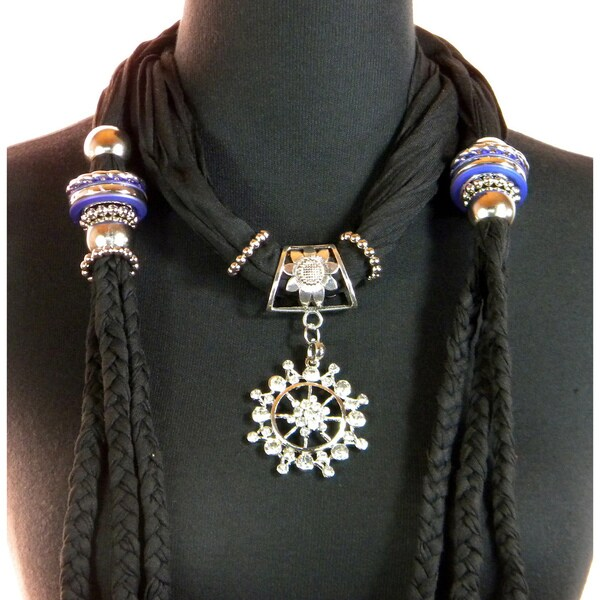 Black Fashion Jewelry Scarf with Compass style Pendant
