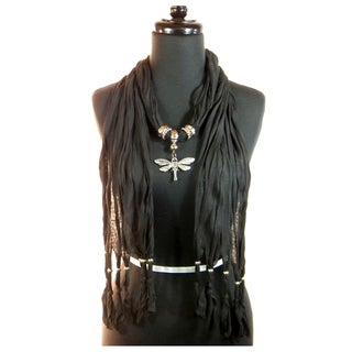 Black Fashion Jewelry Scarf with Silver-Toned Dragonfly Pendant