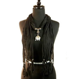 Black Fashion Jewelry Scarf with Lucky Elephant Pendant