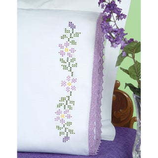 Stamped Pillowcases With Hemstitched Edge 2/Pkg-Starflowers
