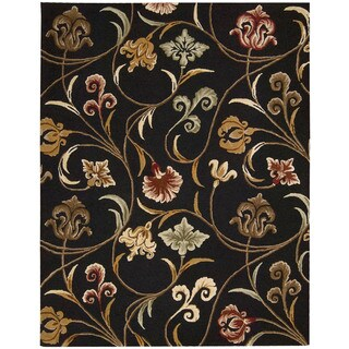"""Transitional Hand-Tufted In Bloom Black Wool Rug (2'6"""" x 4')"""