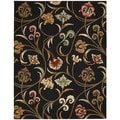"Transitional Hand-Tufted In Bloom Black Wool Rug (2'6"" x 4')"