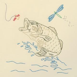 """Stamped Ecru Quilt Blocks 18""""X18"""" 6/Pkg-Fish"""