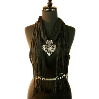 Black Fashion Jewelry Scarf with Stamped Silver Toned Butterfly Pendant