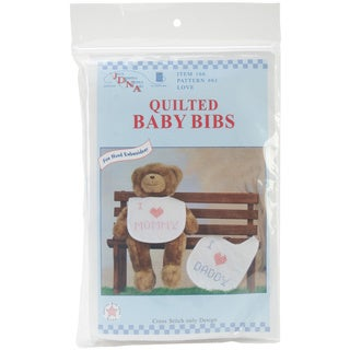 Stamped White Quilted 'Love' Bibs (Pack of 2)