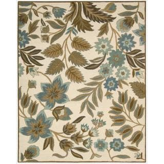 Hand-Tufted In Bloom Ivory/Blue Wool Rug (7'6 x 9'6)