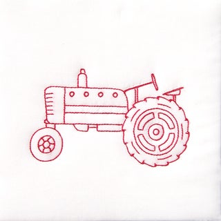 "Stamped White Quilt Blocks 9""X9"" 12/Pkg-Old Tractor"