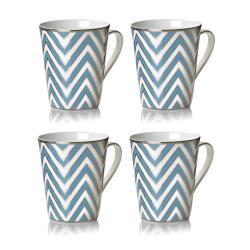 Mikasa Color Studio Turquoise and Platinum Zigzag Mugs (Set of 4)