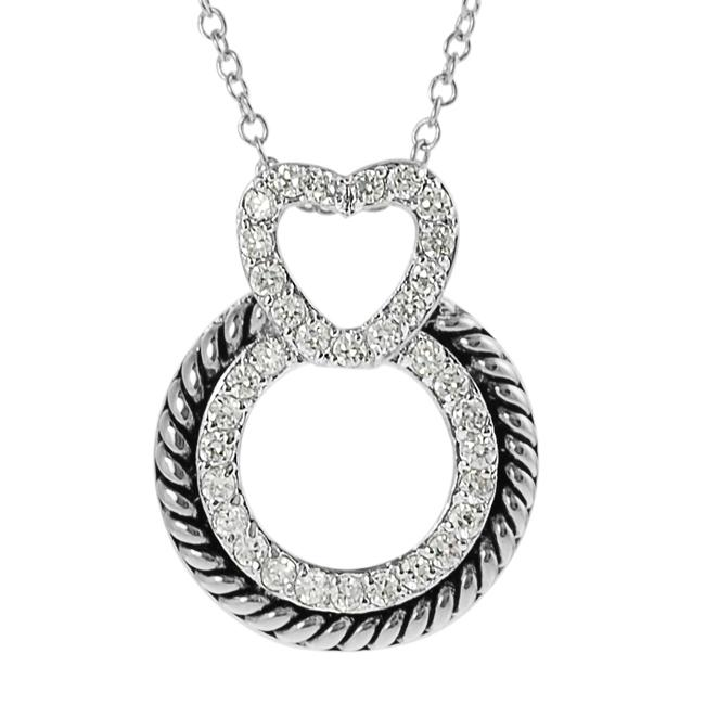 Journee Collection Silvertone Pave-set CZ Circle and Heart Necklace