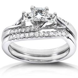 14k White Gold 3/4ct TDW Diamond Bridal Ring Set (H-I, I1-I2)