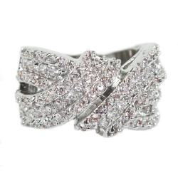 Silvertone Wraparound Ring with 134 Prong-set Round-cut Cubic Zirconia